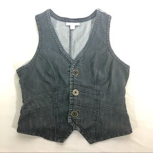 Dress Barn Large Denim vest w/3 buttons